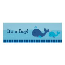 Little Blue Whale Personalized Banner Sign Poster