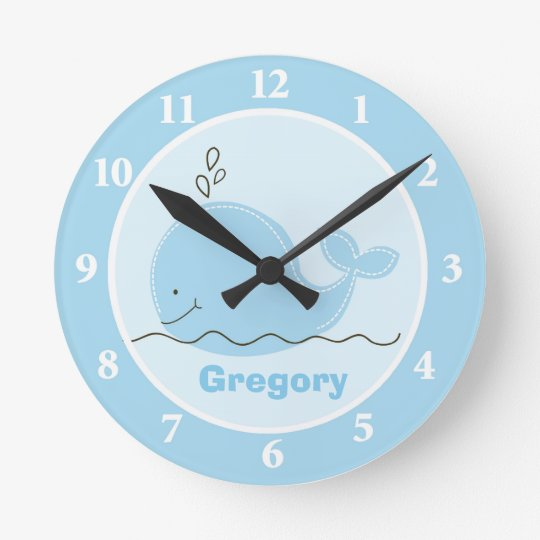Little Blue Whale Personalized Wall Clock