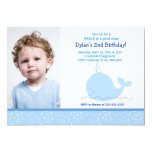 Little Blue Whale *PHOTO* Birthday 5x7 Custom Announcements