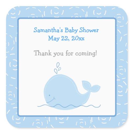 Little Blue Whale Square Envelope Seals 20