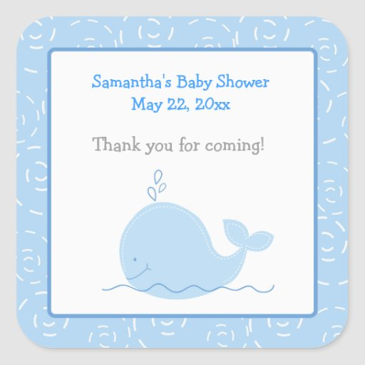 Little Blue Whale SQUARE Favor Sticker