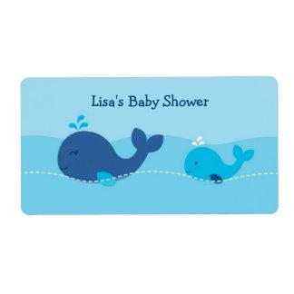 Little Blue Whale Water Bottle Stickers Labels