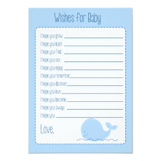 Little Blue Whale Wishes For Baby Card Custom Announcements