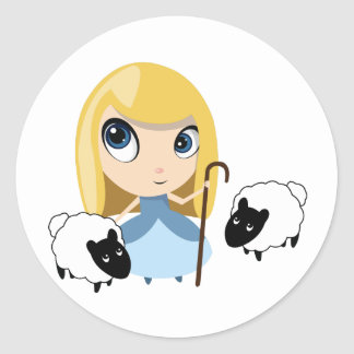 Little Bo Peep and her Sheep Round Stickers