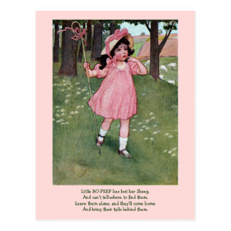 Little Bo-Peep and Missing Sheep Nursery Rhyme Postcard