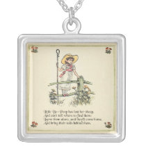 Little Bo Peep art print drawing illustration Silver Plated Necklace