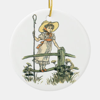 Little Bo Peep Double-Sided Ceramic Round Christmas Ornament
