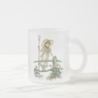 Little Bo Peep Frosted Glass Coffee Mug