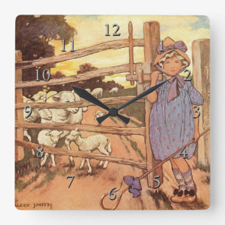 Little Bo-Peep Nursery Rhyme Square Wall Clock