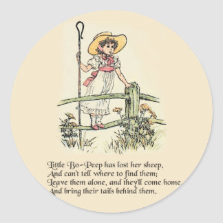 Little Bo Peep Vintage Nursery Rhyme Classic Round Sticker
