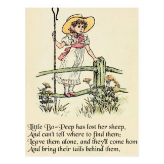 Little Bo Peep Vintage Nursery Rhyme Postcard