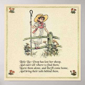 Little Bo Peep Vintage Nursery Rhyme Poster