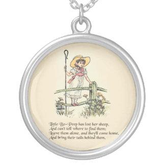 Little Bo Peep Vintage Nursery Rhyme Round Pendant Necklace