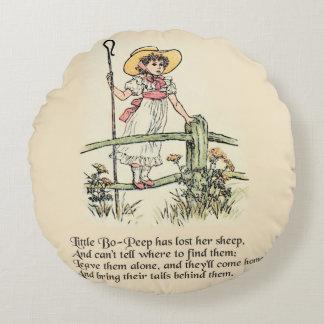Little Bo Peep Vintage Nursery Rhyme Round Pillow