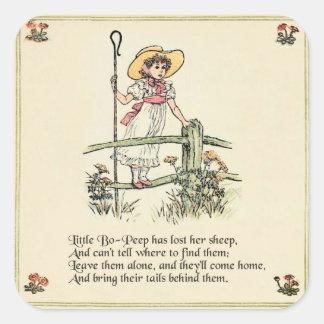 Little Bo Peep Vintage Nursery Rhyme Square Sticker
