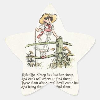 Little Bo Peep Vintage Nursery Rhyme Star Sticker