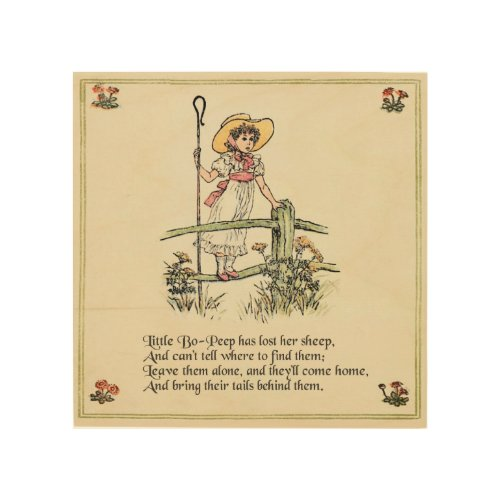 Little Bo Peep Vintage Nursery Rhyme Wood Wall Decor