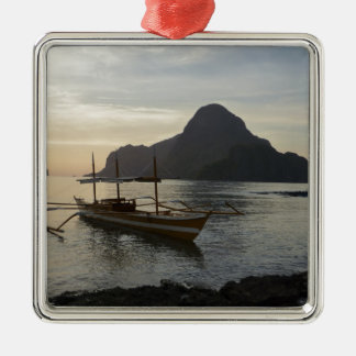Little Boat and Ocean Metal Ornament