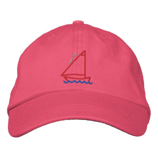 Little Boat Outline Embroidered Baseball Cap