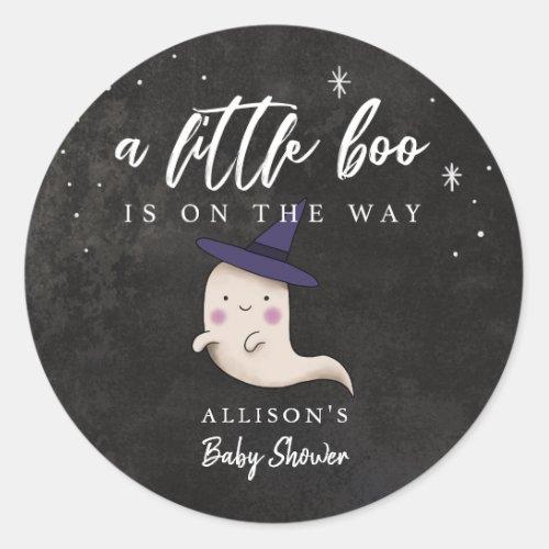 Little Boo Halloween Girl Ghost Baby Shower Classic Round Sticker