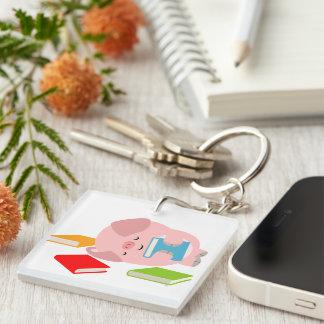 Little Book Lover (Cartoon Pig) Acrylic Keychain