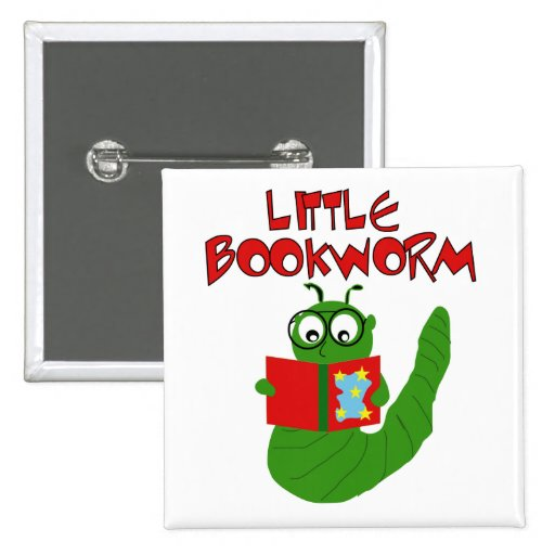 Little Book Worm 2 Inch Square Button
