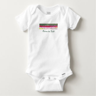 "Little ""Born to Fish"" Rainbow Trout Fisherman Baby Onesie"