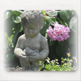 Little Boy and Bird Garden Statue Mouse Pad