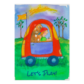 Little Boy and Dog Let's Play Poster