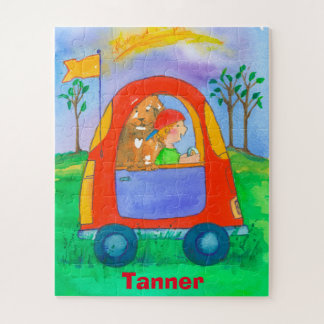 Little Boy and Dog Toy Car Kids Jigsaw Puzzle