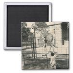 little boy and giraffe magnet