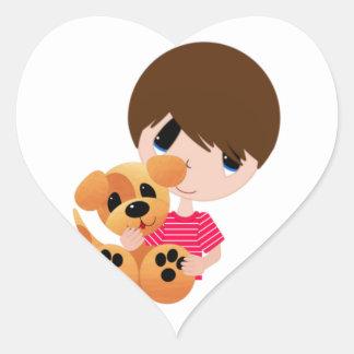 Little Boy and His Puppy Heart Sticker
