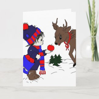Little Boy and Reindeer card