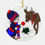 Little Boy and Reindeer Christmas Ornament
