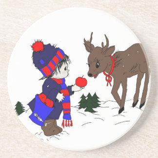 Little Boy and Reindeer Coaster
