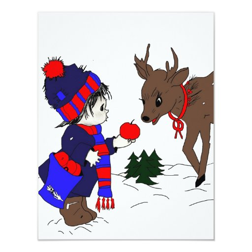 "Little Boy and Reindeer 4.25"" X 5.5"" Invitation Card"