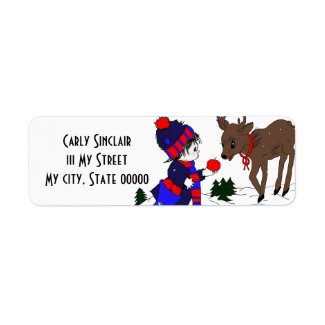 Little Boy and Reindeer label