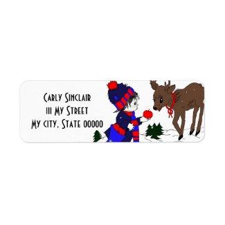 Little Boy and Reindeer label