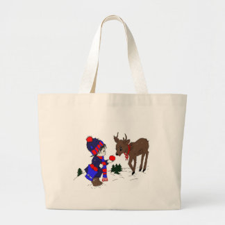 Little Boy and Reindeer Large Tote Bag
