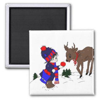 Little Boy and Reindeer Magnet