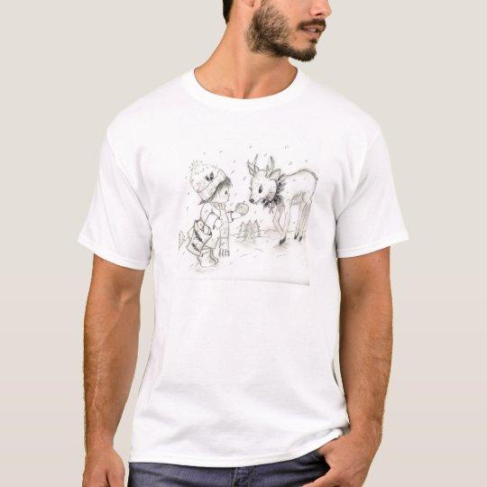 Little Boy and Reindeer T-Shirt