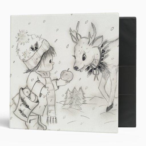 Little Boy and Reindeer Vinyl Binders