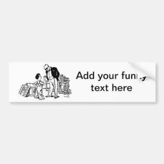 Little Boy and the Banker - Add Your Funny Text Bumper Sticker