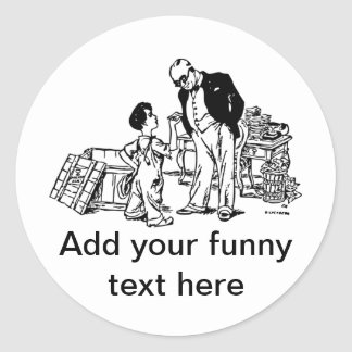 Little Boy and the Banker - Add Your Funny Text Classic Round Sticker