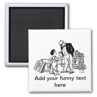Little Boy and the Banker - Add Your Funny Text Fridge Magnet