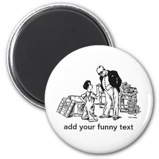 Little Boy and the Banker - Add Your Funny Text Magnets
