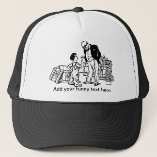 Little Boy and the Banker - Add Your Funny Text Trucker Hat