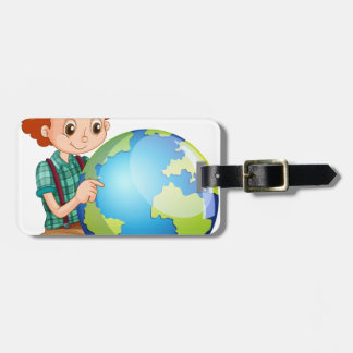 Little boy and the world luggage tag