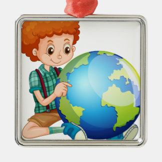 Little boy and the world metal ornament