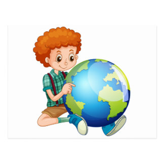 Little boy and the world postcard